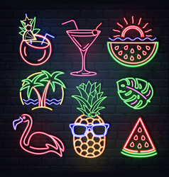 set summer neon sings neon isolated icons vector image
