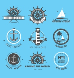 Set vintage nautical labels icons and design e vector