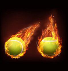tennis balls flying in flames realistic vector image
