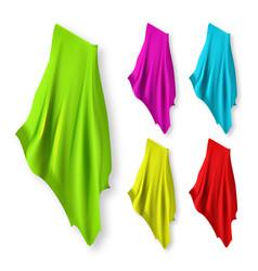 Textiles napkin towels different color set vector