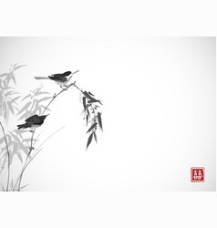 Two birds sitting on bamboo branch traditional vector