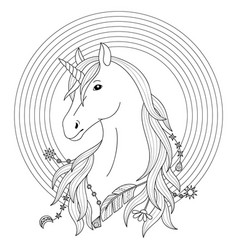 Unicorn tattoo with rainbow vector