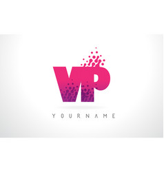 Vp v p letter logo with pink purple color and vector