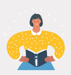 Woman holding book vector