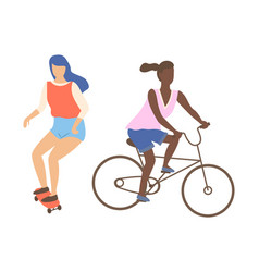 woman skateboarding and riding on bike isolated vector image