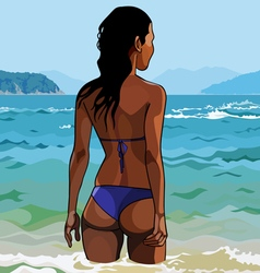 Women in bathing suits standing from the back vector