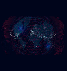 world map of the global communications network vector image