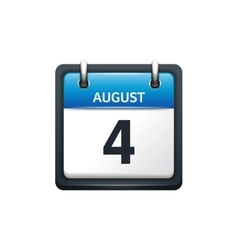 August 4 Calendar icon flat vector image vector image