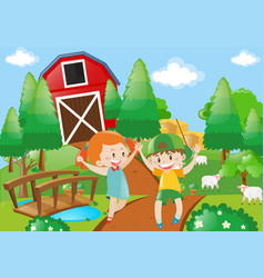 boy and girl playing in the farmyard vector image vector image
