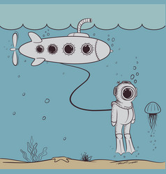 cute diver floats in deep ocean with submarine vector image vector image