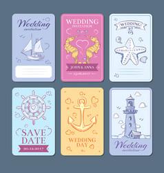 marine sea voyage wedding invitation cards vector image