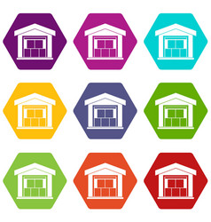 warehouse building icon set color hexahedron vector image