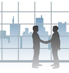 Big City business men deal handshake vector image vector image