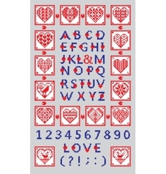 Love alphabet and numbers in the ethnic style vector image vector image