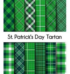 seamless patterns green st patricks day plaid vector image