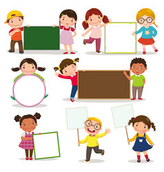 set of children holding blank signs vector image vector image