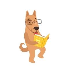Shepherd Dog Smiling Bookworm Zoo Character vector image vector image