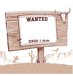 wanted paper on wood board for textwestern vector image vector image