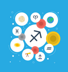 Flat icons archer fishes optics and other vector