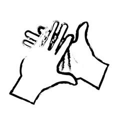hand man clap gesture icon sketch vector image
