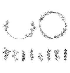 set of doodle hand drawn design elements wreath vector image