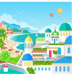 spectacular view of resort town with long beach vector image