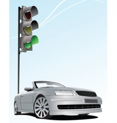 traffic light and car vector image