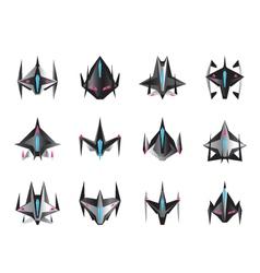 Various spaceships in flight vector image