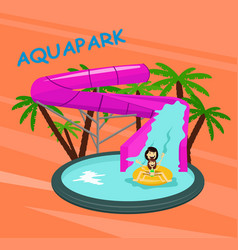 Aquapark poster template with water pool slides vector
