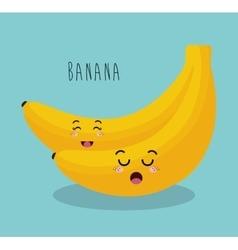 cartoon banana fruit facial expression design vector image