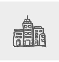 Condominium building sketch icon vector image vector image