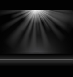 dark black studio room background with lighting vector image vector image