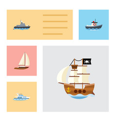 flat icon ship set of ship yacht vessel and vector image vector image