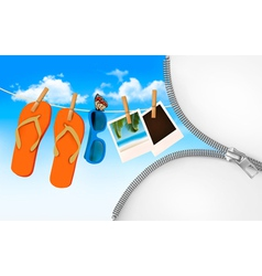 Flip flops sunglasses and photo cards hanging on a vector image vector image