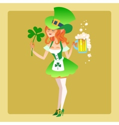 Girl elf green costume St Patrick day vector image