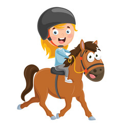 of kid riding horse vector image vector image