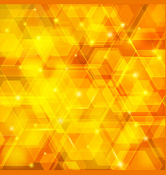 orange abstract techno background with hexagons vector image