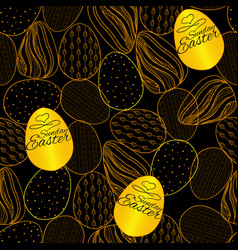 seamless pattern with easter eggs hand drawn vector image vector image