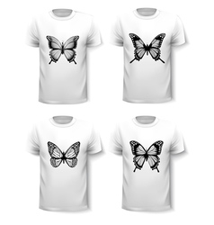 Set of shirt templates with butterfly designs vector image vector image
