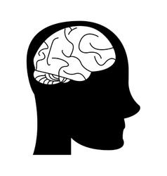 Silhouette profile head brain idea imagination vector