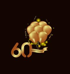 60 year anniversary gold balloon template design vector
