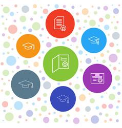 7 graduate icons vector