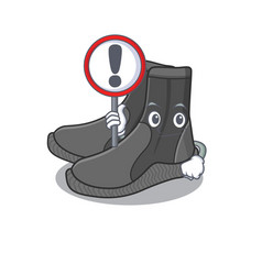 A cartoon icon dive booties with exclamation vector