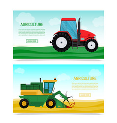 agricultural vehicles and farm machines set of vector image