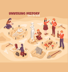 Archeology isometric vector