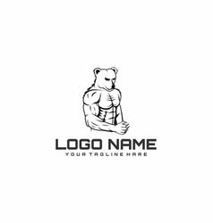 Bear muscular gym logo vector