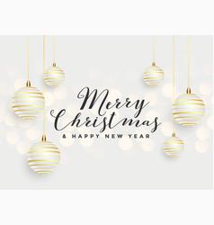 beautiful merry christmas hanging balls background vector image