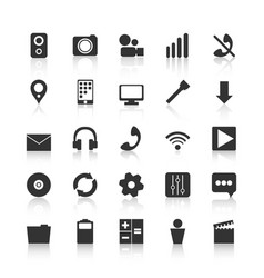 Black icons for design mobile applications vector