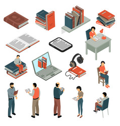 Book reading isometric set vector