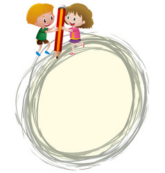 border template with kids writing vector image